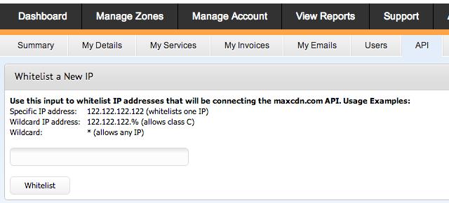 whitelist ip address maxcdn