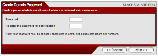 create domain password edu