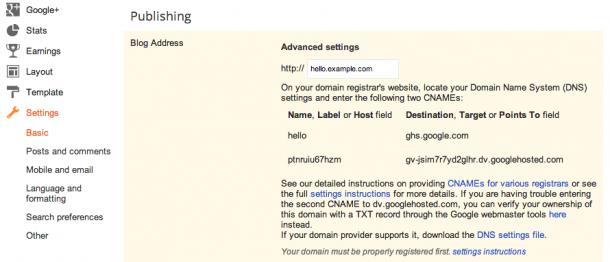 Blogger Blogspot Custom Subdomain Name
