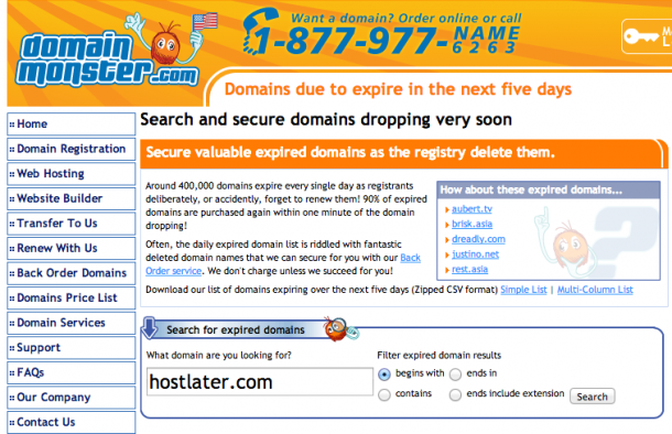 DomainMonster - Expired Domains