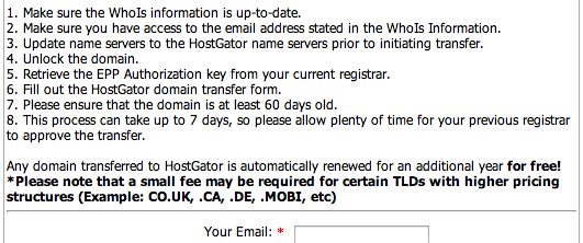 HostGator Free Domain Name Transfer