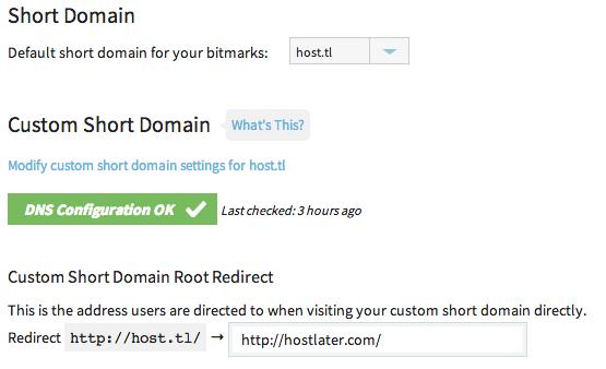 Short Domain Settings Bitly