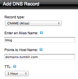 add dns record subdomain tumblr