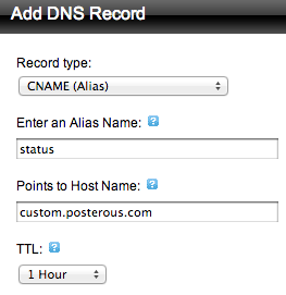 posterous add dns subdomain