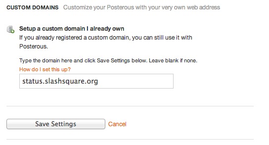 Custom Domain Name For Posterous