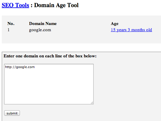 Google Domain Name Age