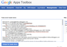 Google Apps Toolbox Message Header
