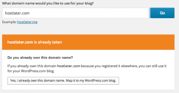 WordPress.com Custom Domain - Already Owned