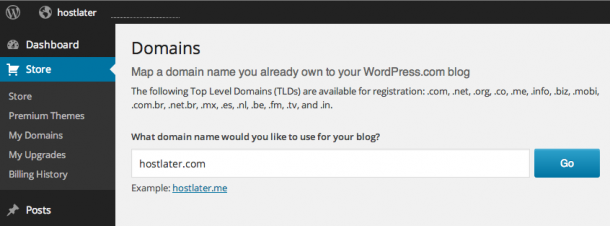 WordPress.com Custom Domain Name Enter