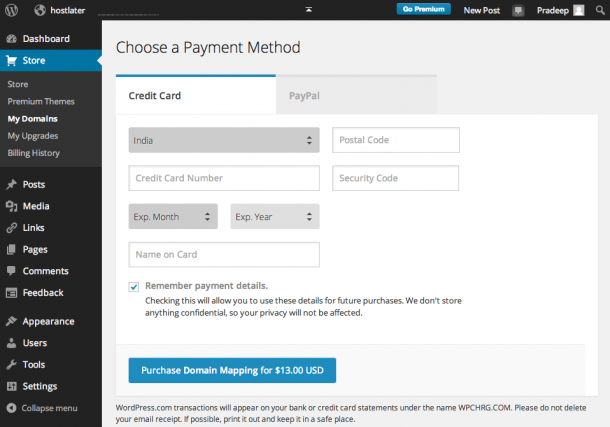 WordPress.com Custom Domain - Payment