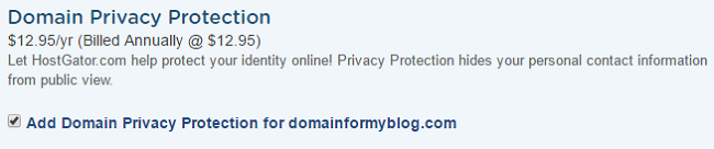 HostGator Domain Privacy Protection