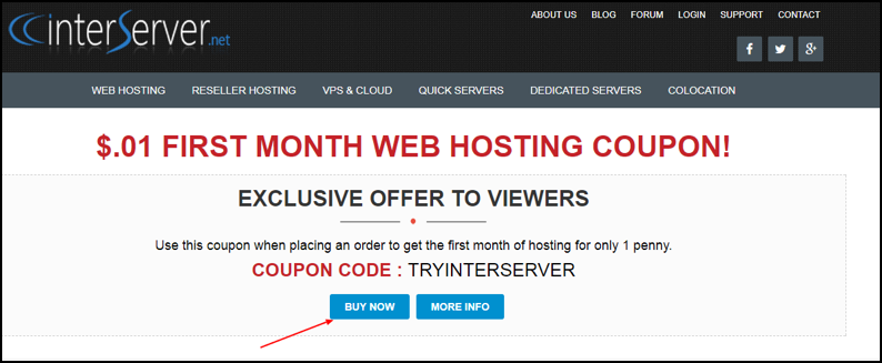 Interserver 1 Cent Coupon Code 2018 – Web Hosting For $0.01! 1